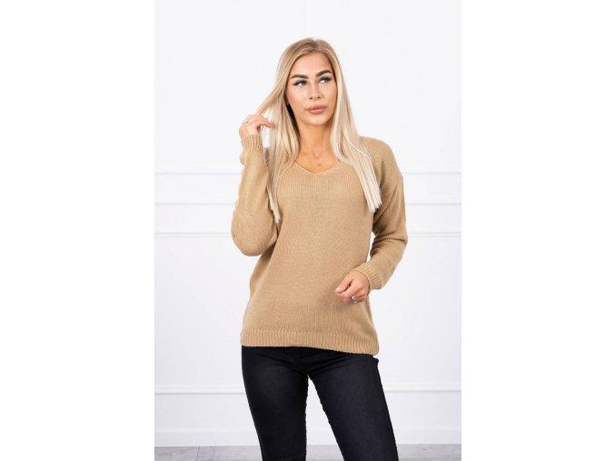 eng pl Sweater with V neckline camel 18308 1