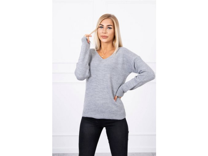 eng pl Sweater with V neckline gray 18309 1