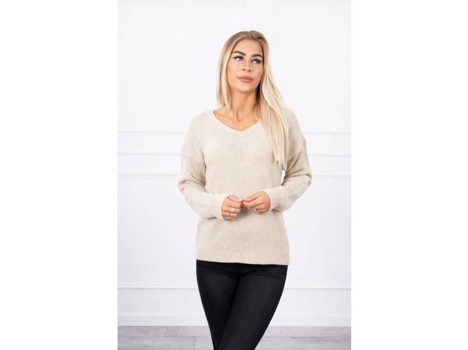 eng pl Sweater with V neckline beige 18313 1