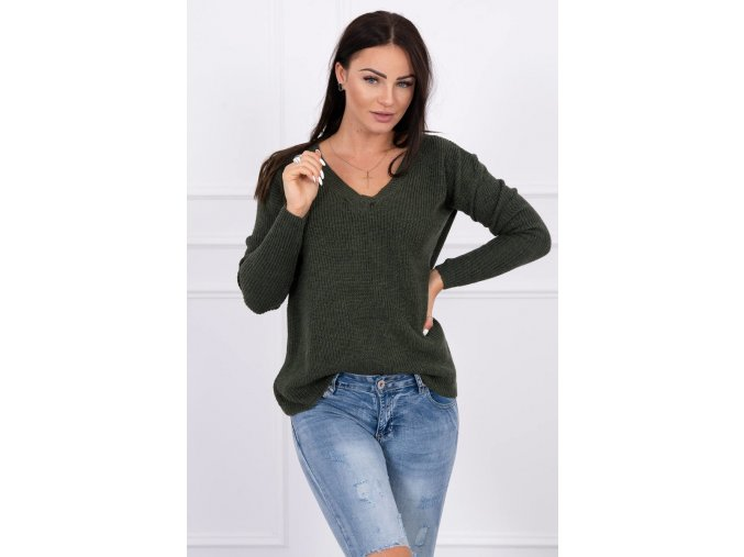 eng pl Sweater with V neckline khaki 15498 3