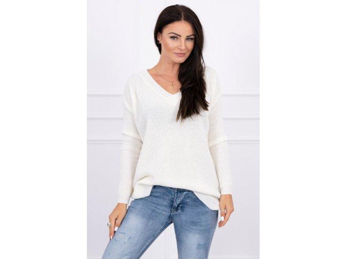 eng pl Sweater with V neckline ecru 15499 1