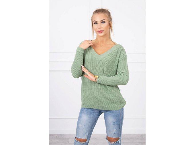eng pl Sweater with V neckline dark mint 19239 1