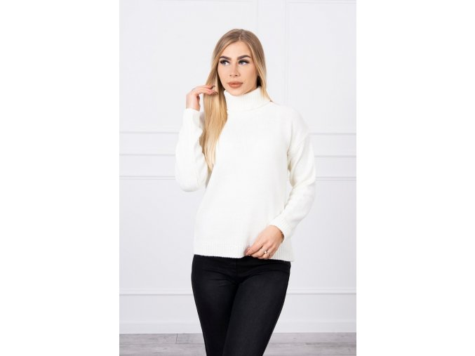 eng pl Sweater with a turtleneck ecru 18772 3