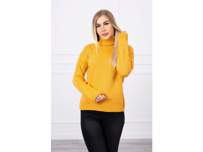 eng pl Sweater with a turtleneck mustard 18775 4