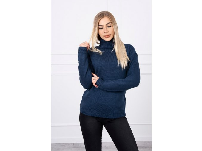 eng pl Sweater with a turtleneck navy blue 18778 4