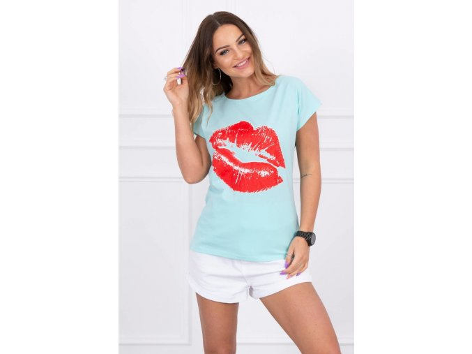 eng pl Blouse with lips print mint 15068 1