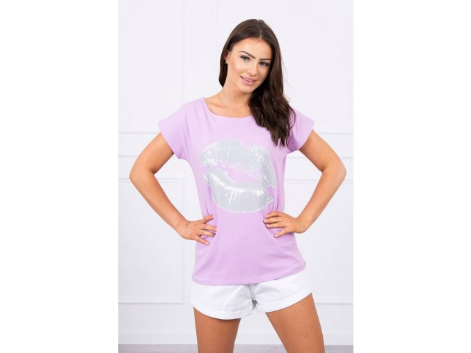 eng pl Blouse with lips print purple 17639 1