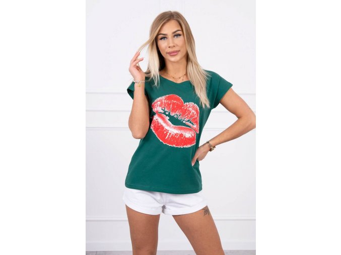 eng pl Blouse with lips print green 19644 1