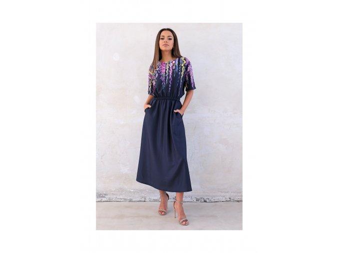 granatowa sukienka midi z kwiatowym motywem (1)