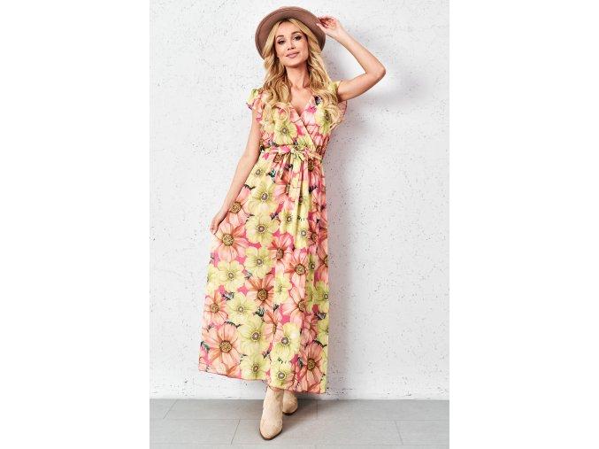 limonkowa sukienka w kwiaty o kopertowym kroju