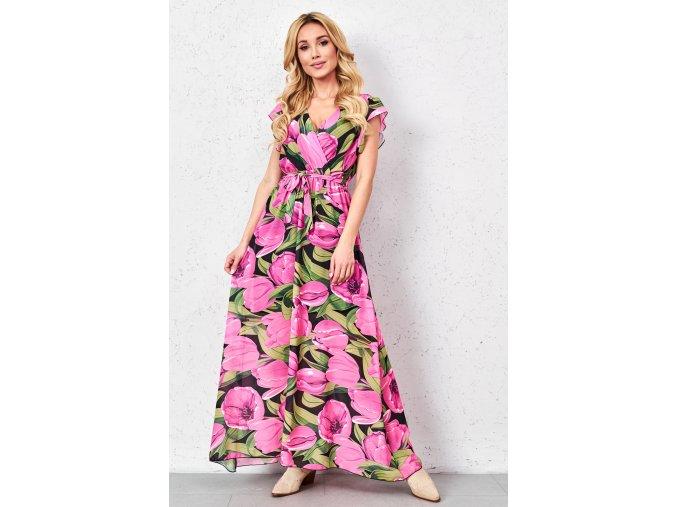 sukienka maxi z printem w fuksjowe kwiaty (1)