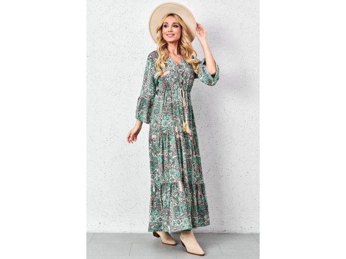 dluga wzorzysta sukienka z ozdobnym wiazaniem (14)