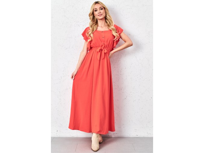 wiazana sukienka maxi z falbanami
