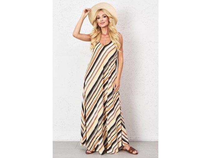 bawelniana sukienka maxi w kolorowe pasy (2)