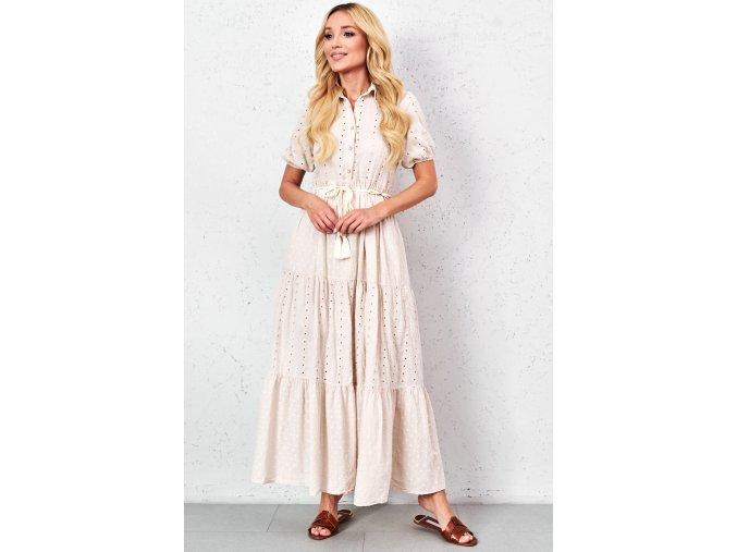 azurowa sukienka maxi z kolnierzem (2)