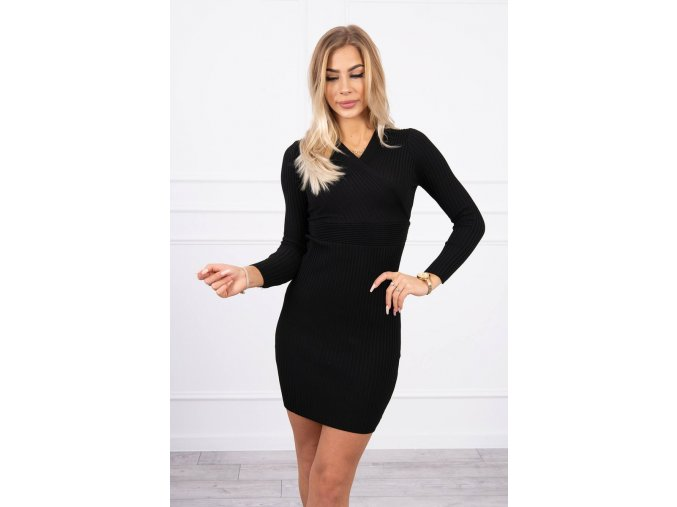 eng pl Sweater Dress fitted with a V neck black 19121 4