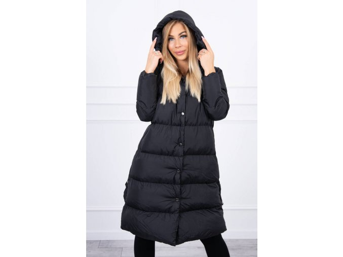 eng pl Quilted winter jacket with a hood black 20696 4