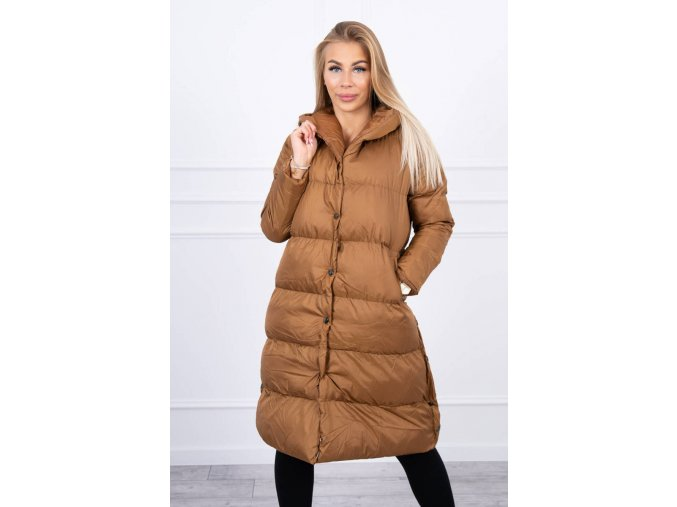 eng pl Quilted winter jacket with a hood camel 20695 1