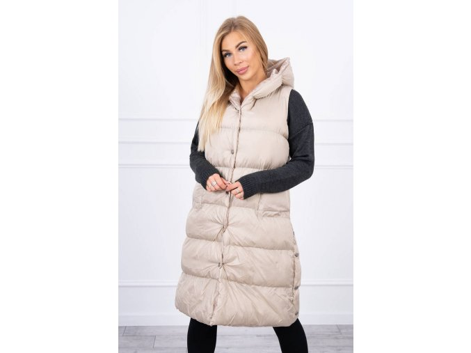 eng pl Quilted vest with a hood beige 20697 7
