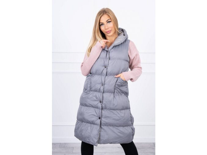 eng pl Quilted vest with a hood dark gray 20700 8
