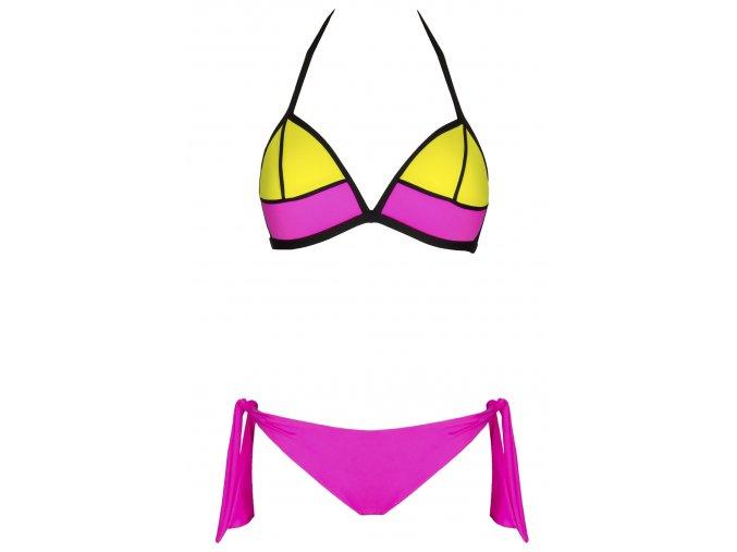Dámské plavky Cindy růžovo žluté (Velikost M- košíček C)
