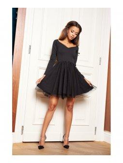sukienka z tiulem w kropki