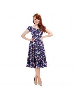 a95575be4de3 Dámské retro šaty Dolores Brocade modré - MOODA.cz