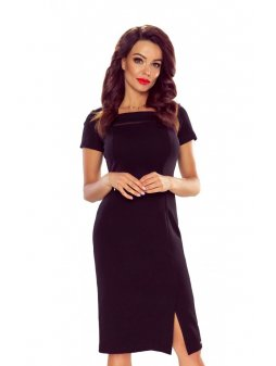 86 02 elegant dress with mesh insertion black