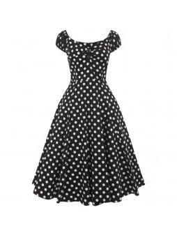 Dámské retro šaty Dolores černé s puntíky