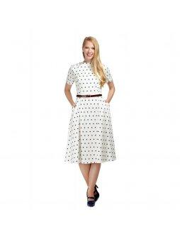 Dámské retro šaty Abby bílé s puntíky