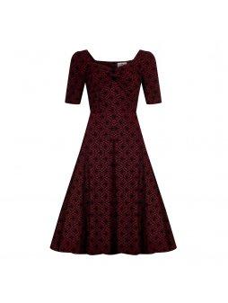 Dámské retro šaty Dolores Brocade vínové