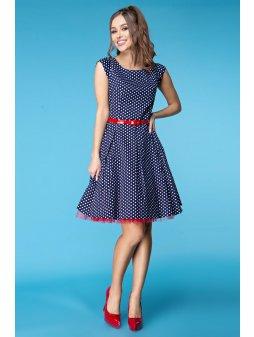 Dámské šaty Polka modré s puntíkem