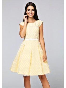 Dámské šaty Polka malý puntík žluté