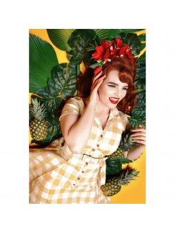 Dámské retro šaty Caterina žlutá kostka