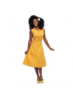 Dámské retro šaty Charlotte žluté
