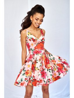 pink skater dress in red flowers print (6)