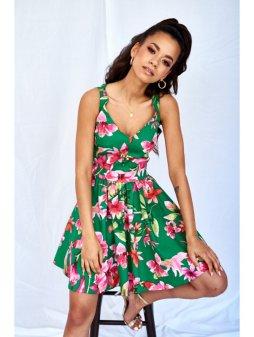 green skater dress in flowers print (3)