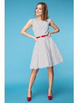 Dámské šaty Polka bílé s černým puntíkem