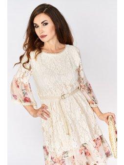 koronkowa sukienka z jedwabiem i paskiem (1)