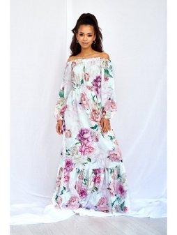 sukienka maxi white rose print