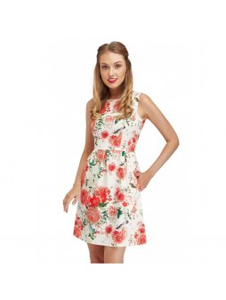 classic vintage summer dress with floral print joan closeup nb325 1