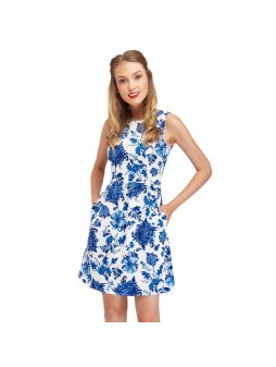 vintage summer dress in blue floral joan closeup nb325 10