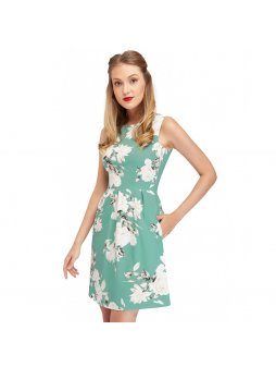 classic summer dress with white rose print and pockets joan closeup nb325 14