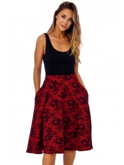 red lace print pocket skirt 8536