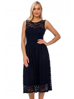 black lace detail fit and flare dress 10207