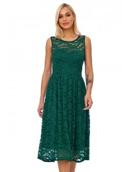 emerald lace detail fit and flare dress 10206