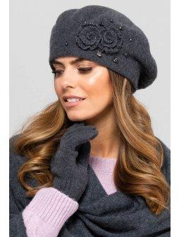 BARCELONA beret damski grafitowy