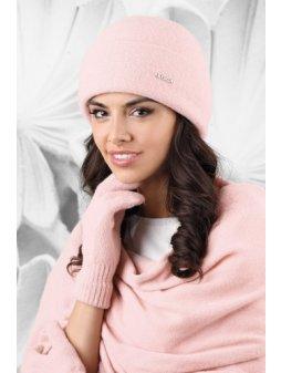 KAMEA MATERA czapka damska bez pompona rozowa