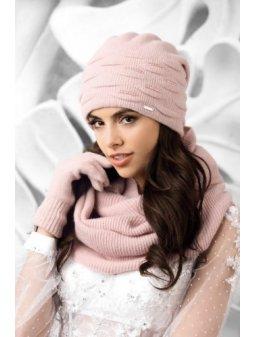 SAVONA czapka damska bez pompona rozowa