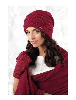 SAVONA czapka damska bez pompona kolor wino